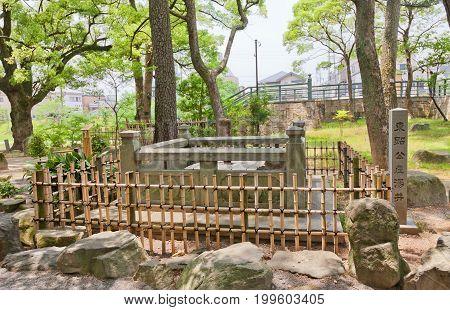 OKAZAKI JAPAN - MAY 31 2017: Well of first bath for newborn Tokugawa Ieyasu in Okazaki Castle Japan. Ieyasu (1543-1616) was samurai and first shogun of Edo shogunate