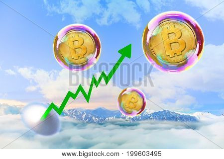Concept of digital currency. Bitcoin sign Bubble inflation