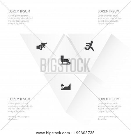 Icon Activities Set Of Revolver, Alpinist, Winner And Other Vector Objects