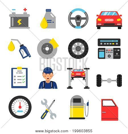 Car service icons set. Different parts of automobile. Vector illustrations in flat style. Steering wheel and brakes, auto instrument and support