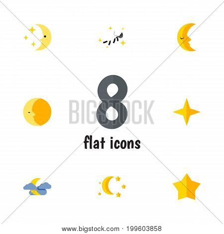 Flat Icon Midnight Set Of Lunar, Nighttime, Bedtime And Other Vector Objects