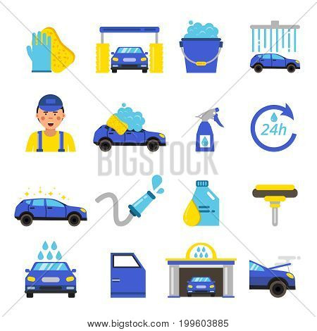 Vector of car washing equipment. Cleaning service for automobiles. Car wash service station illustration