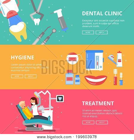 Three horizontal banners of medicine concept. Dental pictures of drilling teeth. Medical accessories of dentist. Treatment dental, hygiene dental banner illustration