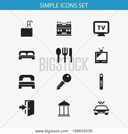 Set Of 12 Editable Hotel Icons. Includes Symbols Such As Sleeping, Pool, Restaurant And More