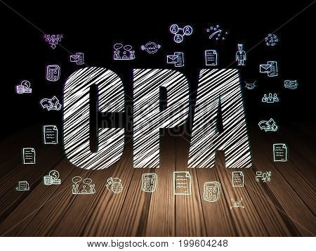 Finance concept: Glowing text CPA,  Hand Drawn Business Icons in grunge dark room with Wooden Floor, black background