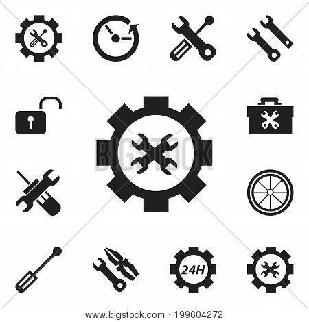 Set Of 12 Editable Tool Icons. Includes Symbols Such As Build Equipment, Service, Screwdriver Wrench And More