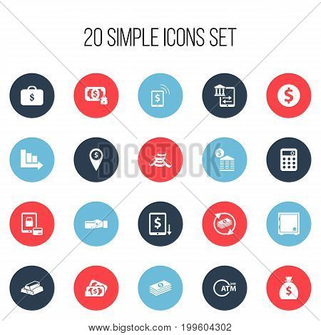 Set Of 20 Editable Banking Icons. Includes Symbols Such As Arrow, Calculator, Decrease And More
