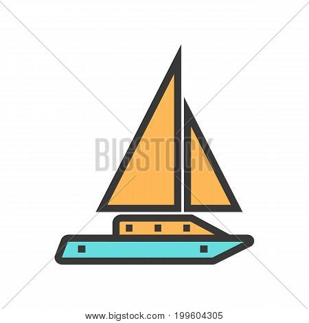 Sailboat vector image. Travel icon for All Purposes like Print Web or Mobile Apps Collection