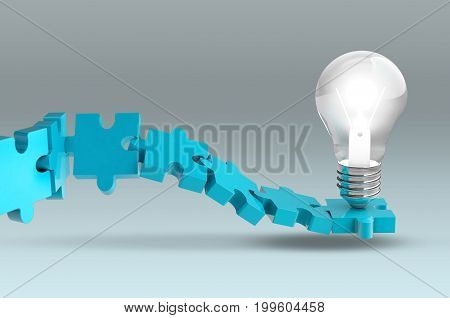 Jigsaw Puzzle Bulb Lights, Teamwork Creative Idea Concept