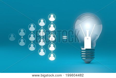 Bulb Lights, Teamwork Brainstorming Creative Idea Concept