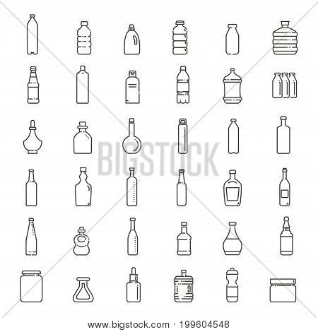 Set of isolated water and alcohol bottle icon on white background