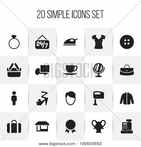 Set Of 20 Editable Shopping Icons. Includes Symbols Such As Attache Case, Grocery, Reticule And More