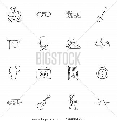 Set Of 16 Editable Trip Doodles. Includes Symbols Such As Medical Kit, Campfire Cooking, Flammable Stick And More