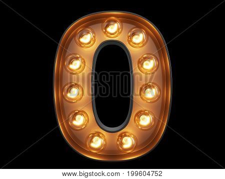 Light Bulb Digit Alphabet Character 0 Zero Null Font