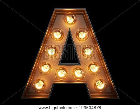 Light Bulb Alphabet Character A Font