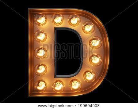 Light Bulb Alphabet Character D Font