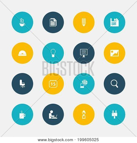 Set Of 16 Editable Bureau Icons. Includes Symbols Such As Picture, Compact Disk, Loupe And More