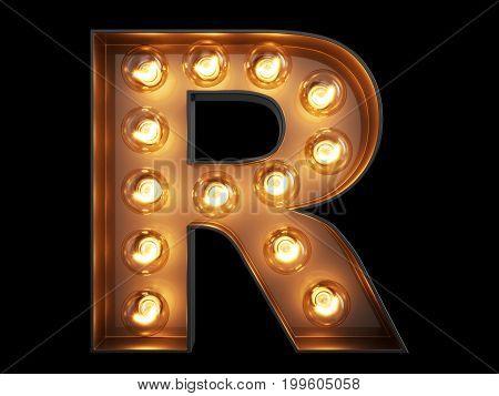 Light Bulb Alphabet Character R Font