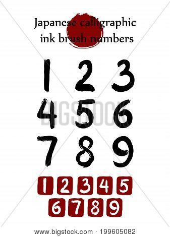Vector set Numbers in Chinese Brush Hand drawn Calligraphy Style. Red stamp Numeral 1,2,3,4,5,6,7,8,9
