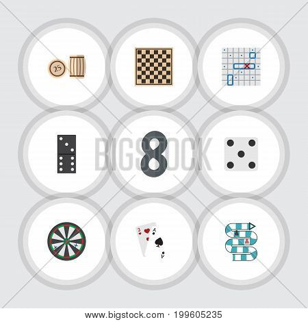 Flat Icon Play Set Of Ace, Bones Game, Chess Table And Other Vector Objects