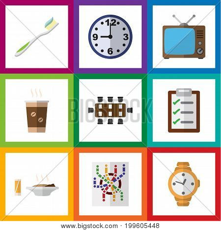 Flat Icon Lifestyle Set Of Watch, Timer, Lunch And Other Vector Objects