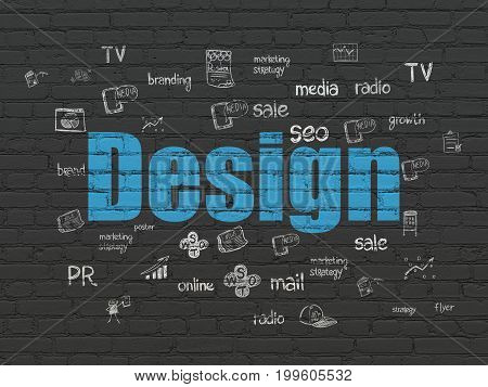 Marketing concept: Painted blue text Design on Black Brick wall background with  Hand Drawn Marketing Icons