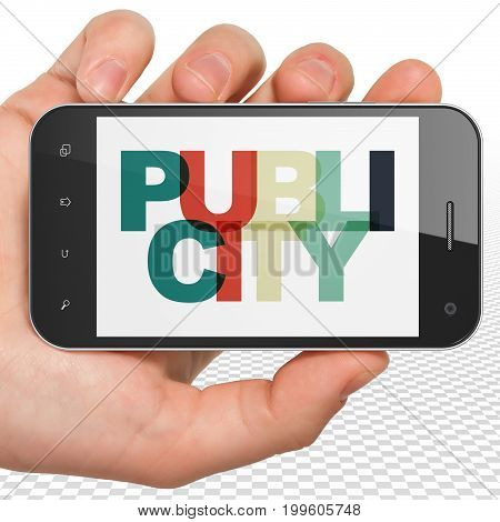 Advertising concept: Hand Holding Smartphone with Painted multicolor text Publicity on display, 3D rendering