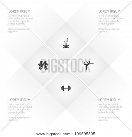 Icon Lifestyle Set Of Powerlifting, Cane, Meditation And Other Vector Objects