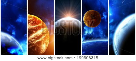Set of vertical space banners with planets, nebula and stars. Elements of this images furnished by NASA.