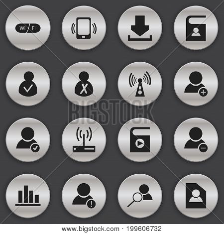 Set Of 16 Editable Network Icons. Includes Symbols Such As Delete Member, Wifi, Line Chart And More