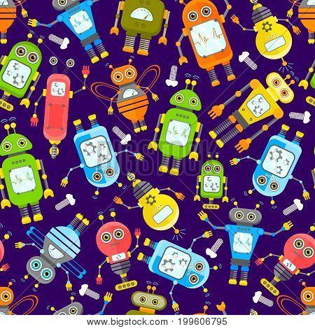 Cartoon Robots Seamless Background. Set of vector robots in cartoon style.