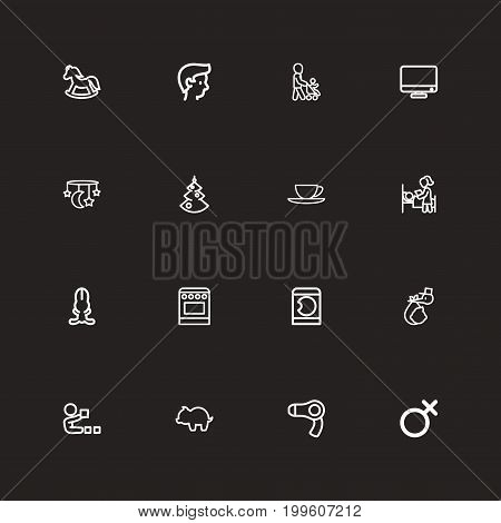 Set Of 16 Editable Folks Outline Icons. Includes Symbols Such As Money Box, Dryer, Monitor And More