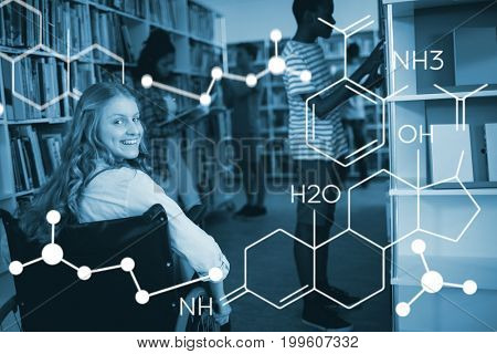 Composite image of chemical structure against disabled girl on wheelchair in library