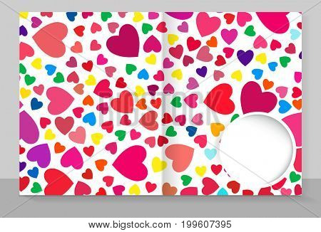 Template cover of a copybook with an trendy design: colorful hearts pattern.