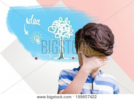 Digital composite of Boy thinking hard with colorful idea graphics