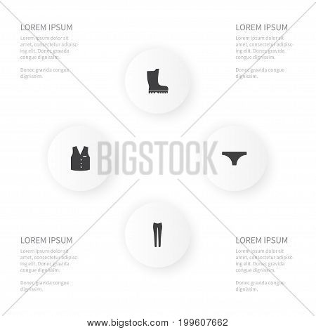 Icon Dress Set Of Waistcoat, Lingerie, Footwear And Other Vector Objects