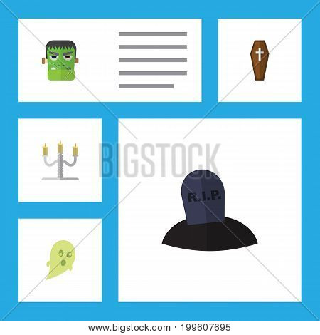Flat Icon Festival Set Of Tomb, Casket, Phantom And Other Vector Objects