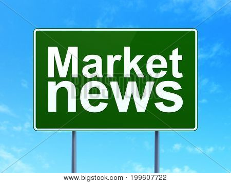 News concept: Market News on green road highway sign, clear blue sky background, 3D rendering
