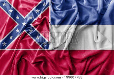 Ruffled waving United States Mississippi flag national