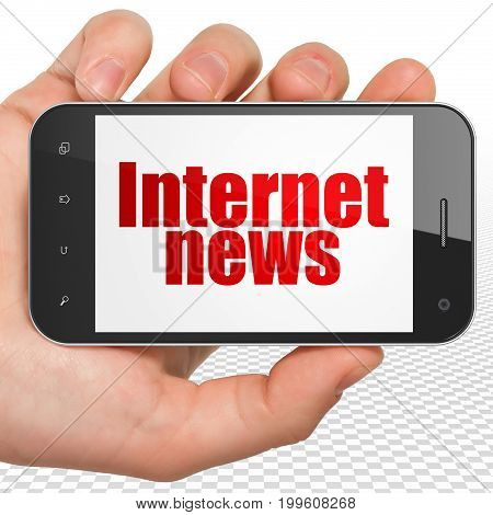 News concept: Hand Holding Smartphone with red text Internet News on display, 3D rendering