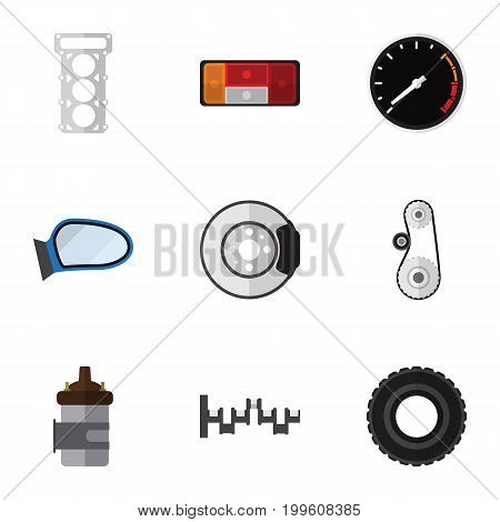 Flat Icon Parts Set Of Metal, Headlight, Wheel And Other Vector Objects