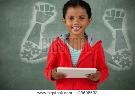 Hand and gears against white backgoround against young girl holding digital tablet