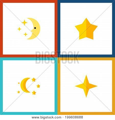 Flat Icon Night Set Of Bedtime, Star, Nighttime And Other Vector Objects