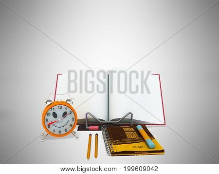 Concept Of School And Education Lesson Microscope Notebook 3D Rendering On Gray Background