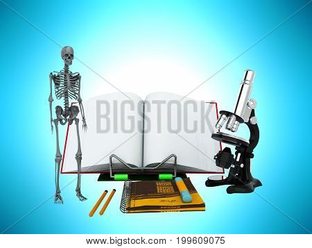Concepts Of School And Education Biology 3D Render On Blue Background