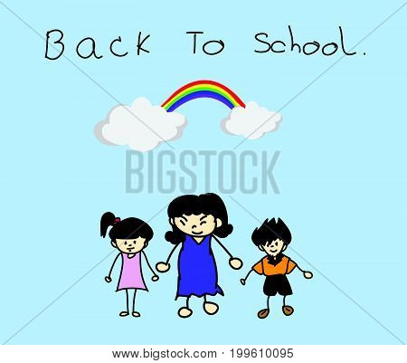 Parents take their children to school BACK TO SCHOOL concept. Kid drawing picture