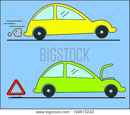 Warning triangle and car breakdown vector illustration