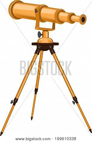 Vector illustration of a telescope on a white background. Astronomy, Look at the stars. Gold.
