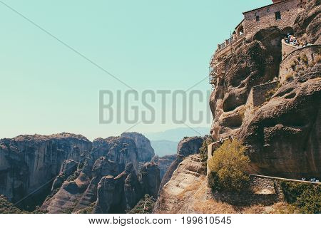Scenic View Of The Mountains And Monastery Of Hipapandi At Meteora, Greece