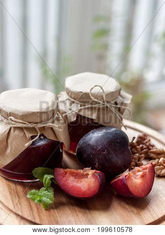 village style plum jam light blurred background